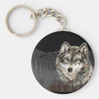 Mountain with Watercolor Wolf Animal wilderness Keychain