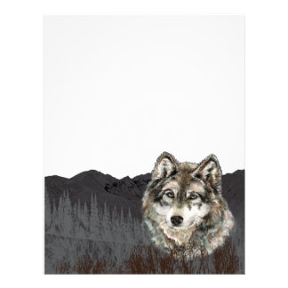 Mountain with Watercolor Wolf Animal wilderness Letterhead