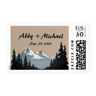 Mountain Woodland Forest Wedding Custom Postage
