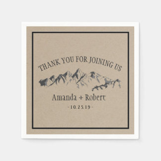 Mountain Woodland Forest Wedding Personalized Paper Napkin