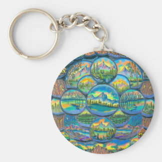 Mountain Worlds Drawings Keychain