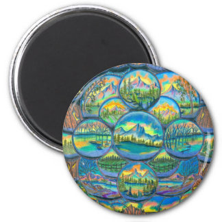 Mountain Worlds Drawings Refrigerator Magnet