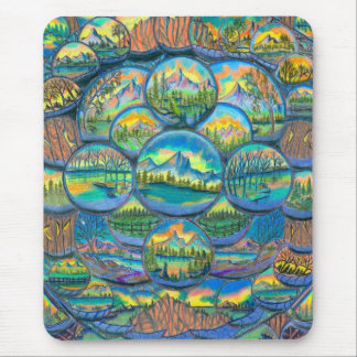 Mountain Worlds Drawings Mouse Pad