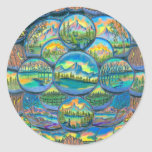 Mountain Worlds Drawings Round Stickers