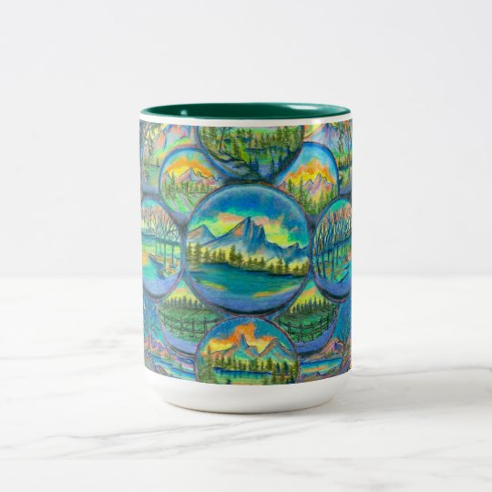 Mountain Worlds Drawings Two-Tone Coffee Mug