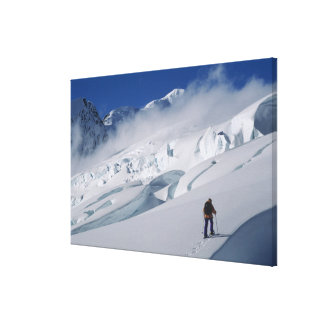 Mountaineer on the Tasman Glacier in Mount Stretched Canvas Prints