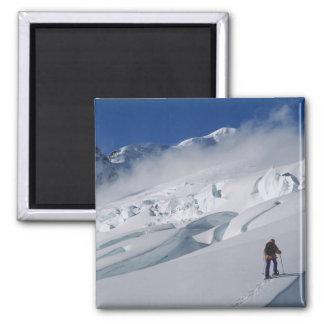 Mountaineer on the Tasman Glacier in Mount Refrigerator Magnet