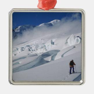 Mountaineer on the Tasman Glacier in Mount Metal Ornament