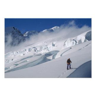 Mountaineer on the Tasman Glacier in Mount Photograph