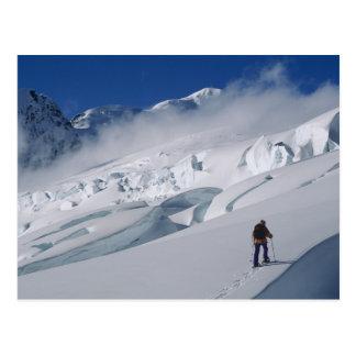 Mountaineer on the Tasman Glacier in Mount Post Card