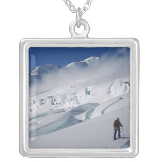 Mountaineer on the Tasman Glacier in Mount Square Pendant Necklace