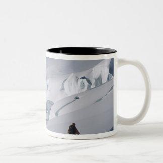 Mountaineer on the Tasman Glacier in Mount Two-Tone Coffee Mug
