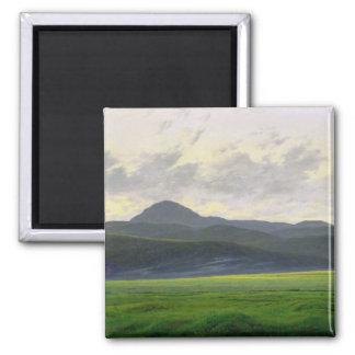 Mountainous landscape 2 inch square magnet