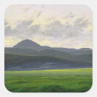Mountainous landscape square sticker