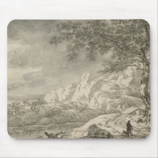 Mountainous Landscape with a Hiker Mouse Pad