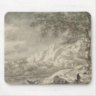Mountainous Landscape with a Hiker Mouse Pad