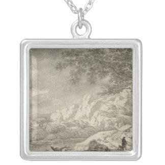 Mountainous Landscape with a Hiker Personalized Necklace