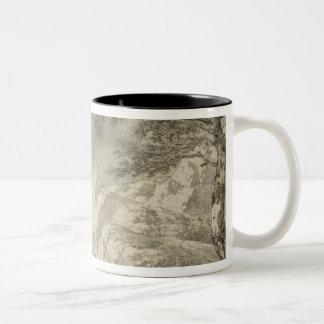 Mountainous Landscape with a Hiker Two-Tone Coffee Mug