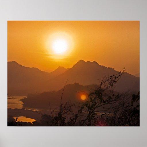 Mountainous Laos Sunset Print