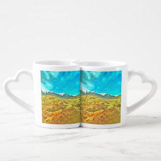 Mountainous terrain couples' coffee mug set