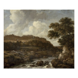 Mountainous Wooded Landscape with a Torrent Poster