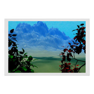 Mountains and firery trees landscape poster