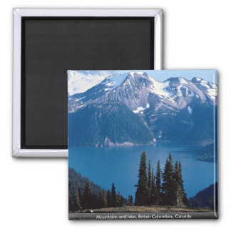 Mountains and lake, British Columbia, Canada 2 Inch Square Magnet