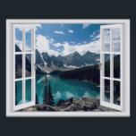 "Mountains and Lake Landscape Fake Window View Poster<br><div class=""desc"">Beautiful landscape with mountains and lake view,  faux window scene,  for a windowless office. Very realistic landscape optical illusion poster that would look great on an office or study wall.</div>"