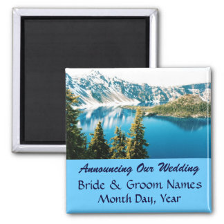 Mountains and Lake Wedding Save the Date Magnet