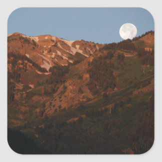 Mountains and Moonset Square Sticker