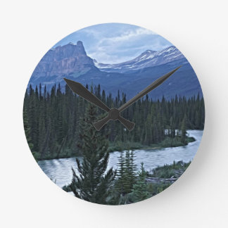 Mountains and River in Canadian Wilderness Round Clock