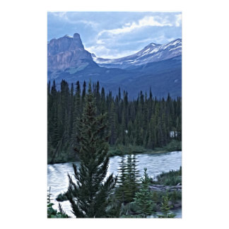 Mountains and River in Canadian Wilderness Stationery