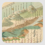 Mountains and Rivers Map Square Sticker