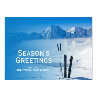 Mountains and ski equipment card