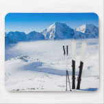 Mountains and ski equipment mouse pad