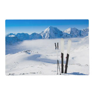 Mountains and ski equipment placemat