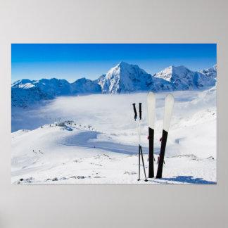 Mountains and ski equipment print