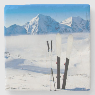 Mountains and ski equipment stone coaster