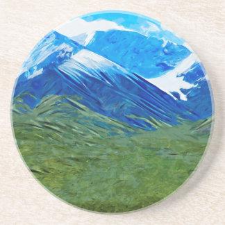 Mountains and Sky of Denali Alaska Abstract Drink Coaster