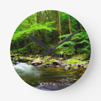 Mountains and Streams Round Clock