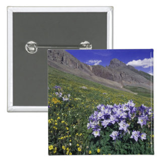 Mountains and wildflowers in alpine meadow, Blue 2 Inch Square Button