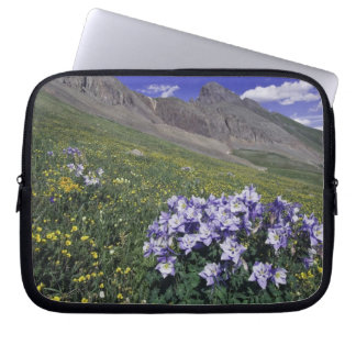 Mountains and wildflowers in alpine meadow, Blue Laptop Sleeve