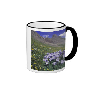 Mountains and wildflowers in alpine meadow, Blue Ringer Coffee Mug