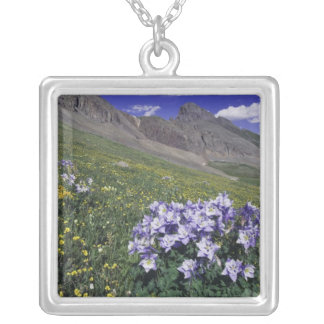 Mountains and wildflowers in alpine meadow, Blue Square Pendant Necklace