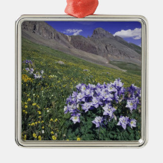 Mountains and wildflowers in alpine meadow, Blue Square Metal Christmas Ornament