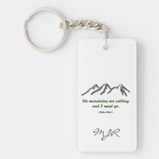 Mountains are calling/Snow tipped mtns Double-Sided Rectangular Acrylic Keychain