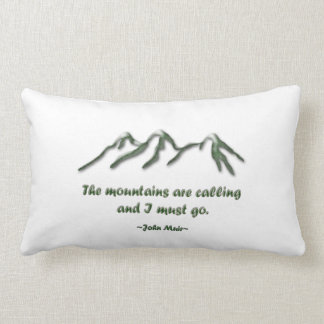 Mountains are calling/Snow tipped mtns Lumbar Pillow