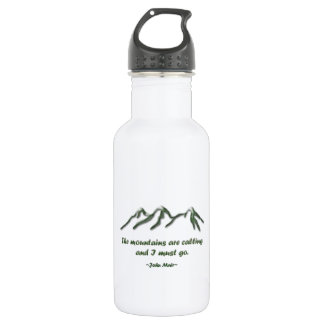 Mountains are calling/Snow tipped mtns Water Bottle