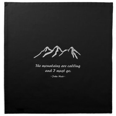 Mountains are calling snowy blizzard printed napkins