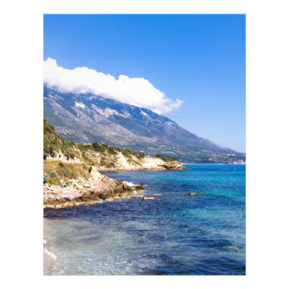 Mountains at coast  with sea in Kefalonia Greece Letterhead